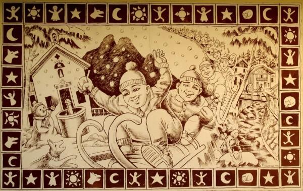 Ricordi di bimbi d'inverno di Franco Pagliarulo Agordo-Paese del Graffito