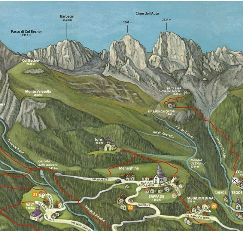 Mappa della Val Biois di Dunio Piccolin