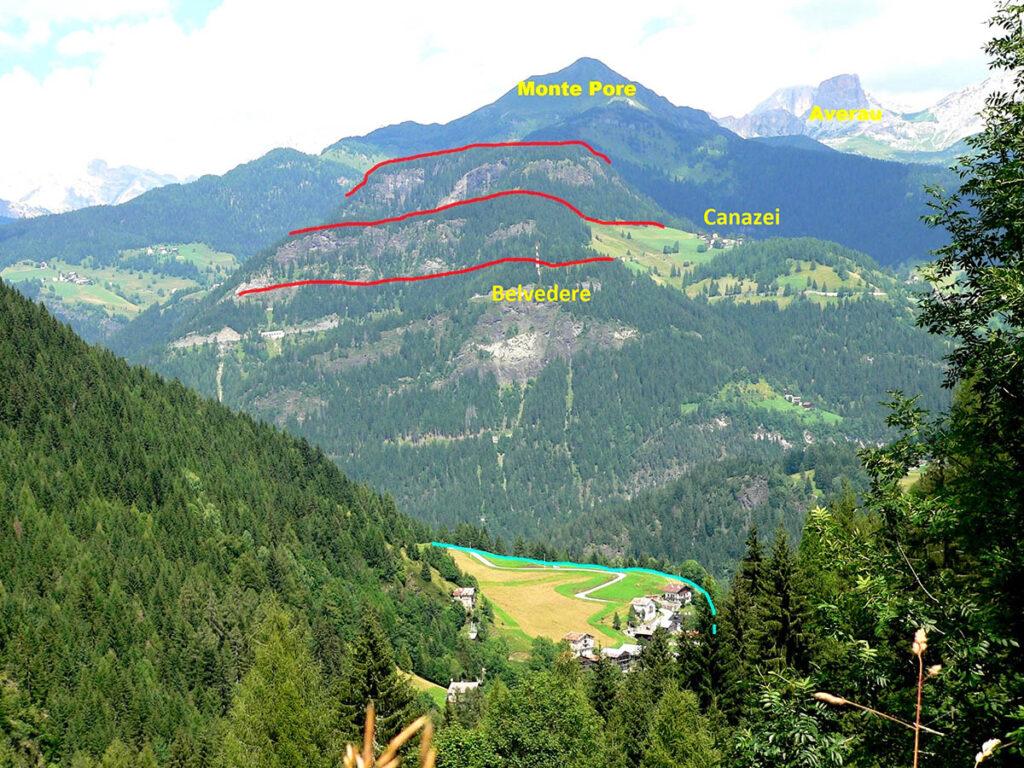 Il versante occidentale del Monte Pòre con le formazioni geologiche impilate una sopra l'altra