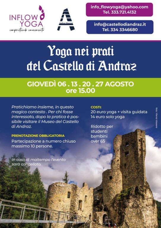 Yoga nei prati del castello di Andraz di Inflow Yoga