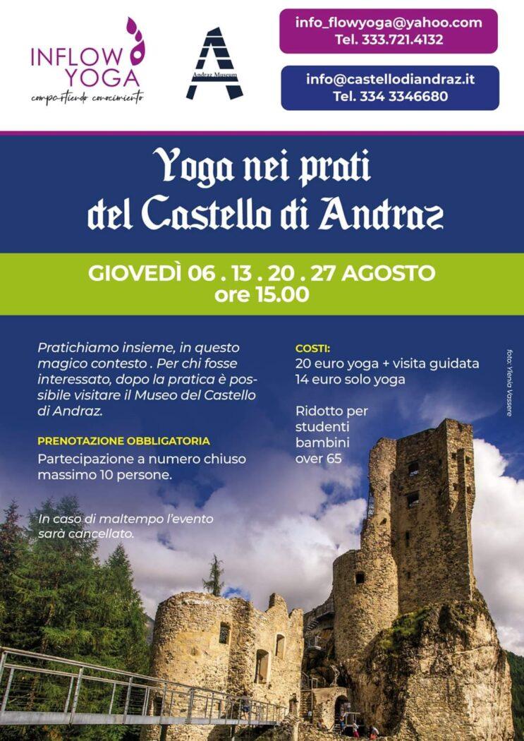 Yoga nei prati del castello di Andraz di Inflow Yoga vacanze dolomiti
