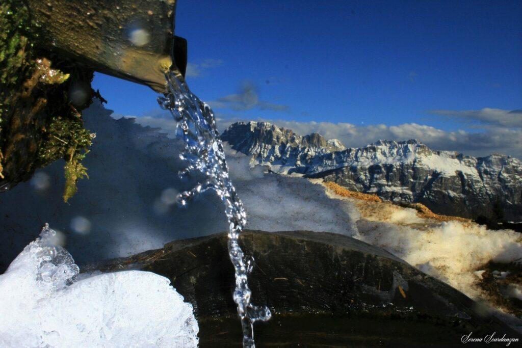Particolare della fontanella (Naf) di Baita Colmont -Cime d'Auta