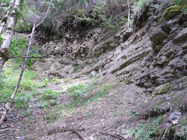 """Plattenkalke dell Formazione di Livinallongo utilizzati per l'estrazione del cosiddetto """"Marmo nero"""" di Rucavà lungo il Rio Pignazza"""