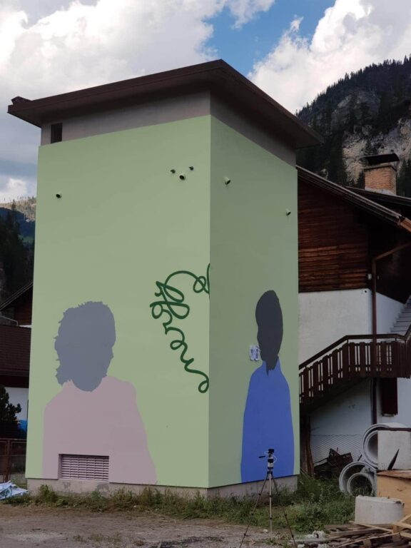 Graffito su cabina E- Distribuzione di Jako Manuel Giacometti