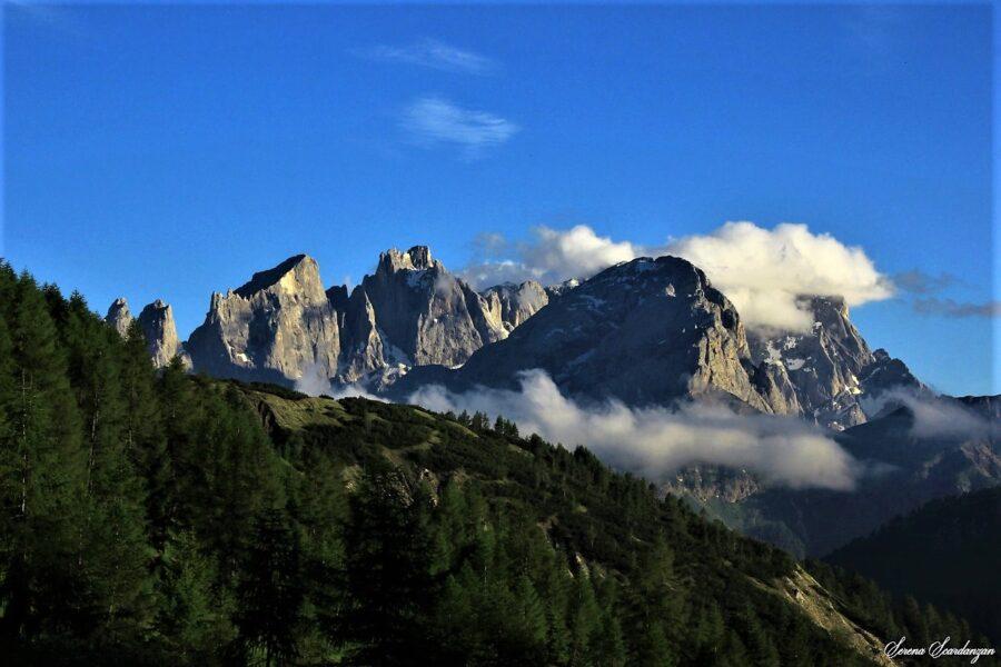 Panorama sulle Pale di San Martino da Valfredda