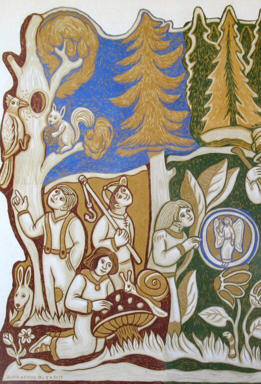 L'incanto del bosco graffito a La Valle Agordina di Dunio Piccolin