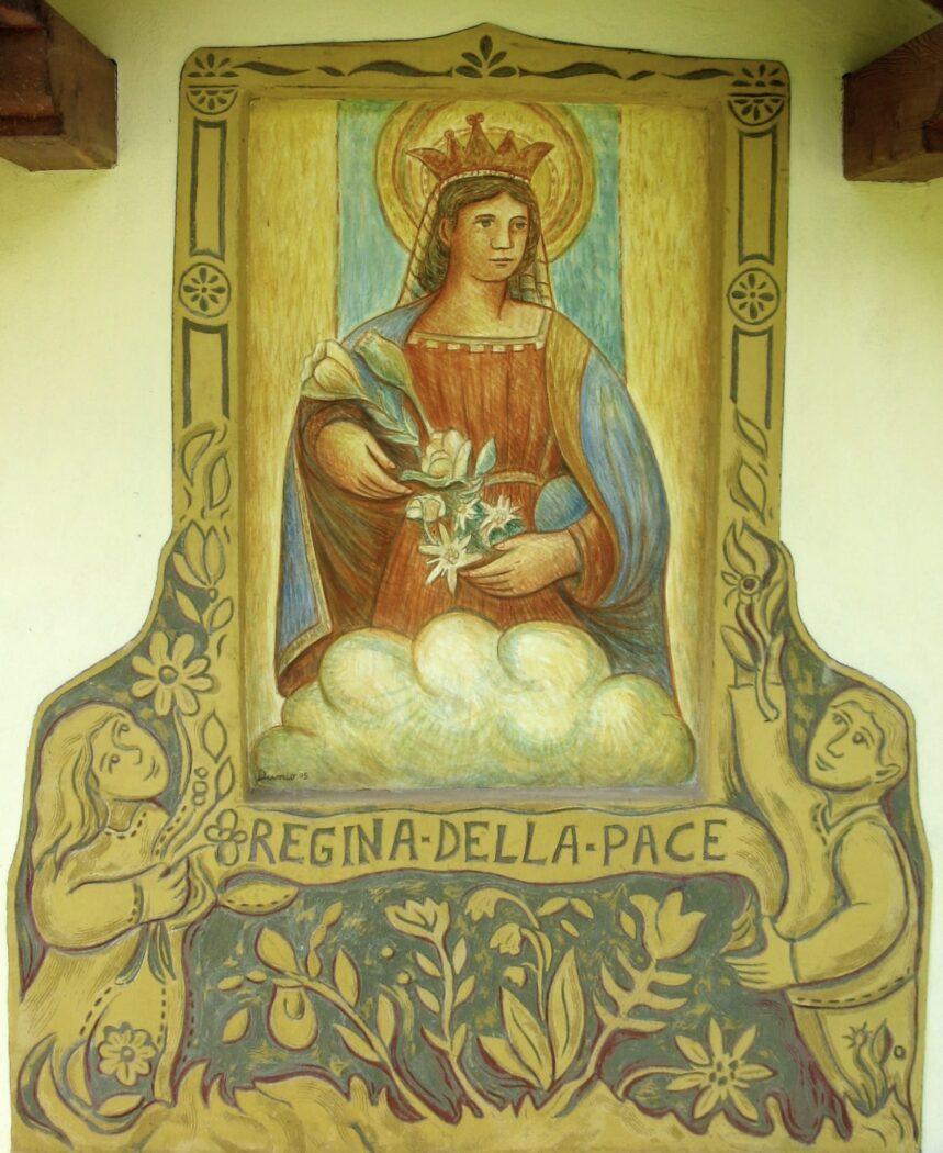 A la nostra mama bela - Affresco a Vallada di Dunio Piccolin Regina della Pace