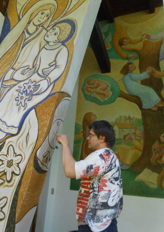Affresco a Vallada La Madonna della Montagna di Dunio Piccolin