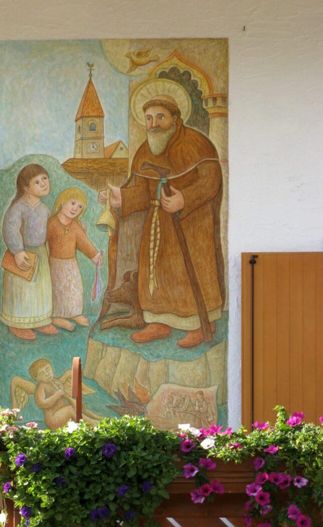 Affresco a Falcade - San Antonio Abate con bimbe di Dunio Piccolin