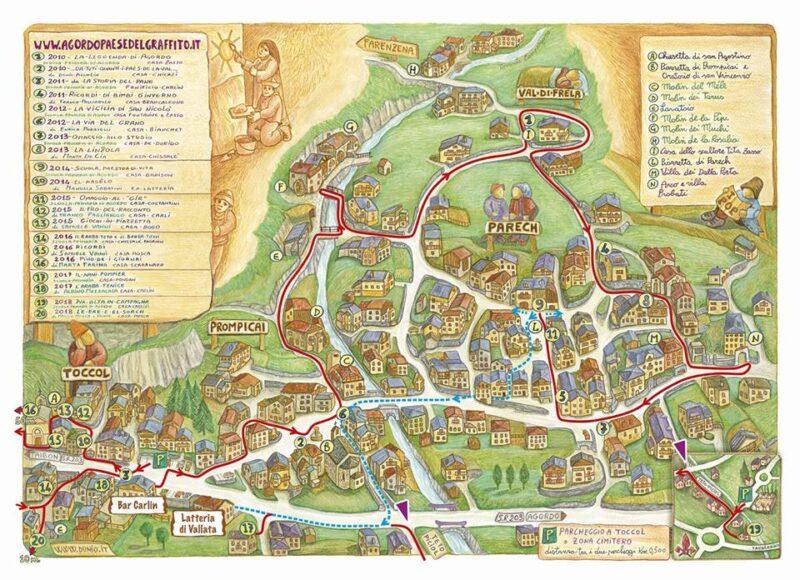 Mappa Agordo - paese del Graffito di Dunio Piccolin