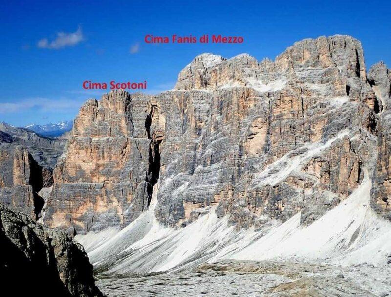 Crollo nella Dolomia Principale tra Cima Scotoni e Cima Fanis