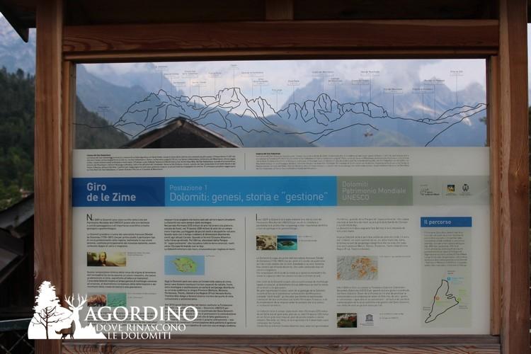 Tabella Unesco - Giro de le Zime - Voltago Agordino